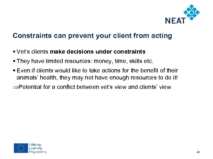 Constraints can prevent your client from acting § Vet's clients make decisions under constraints
