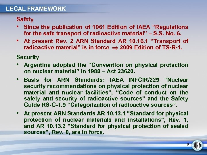 """LEGAL FRAMEWORK Safety • Since the publication of 1961 Edition of IAEA """"Regulations for"""