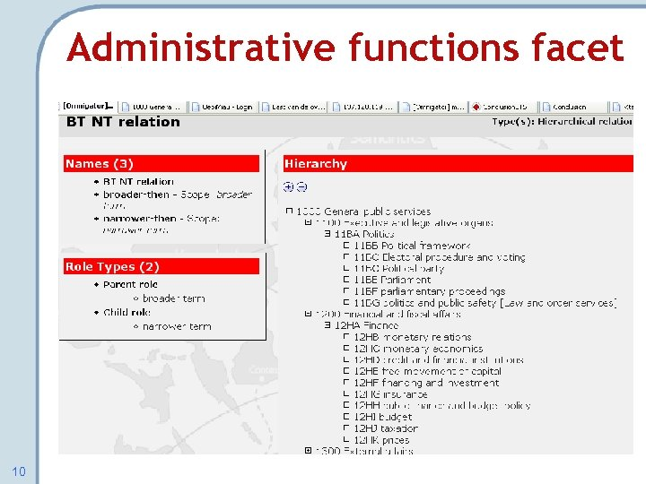 Administrative functions facet 10