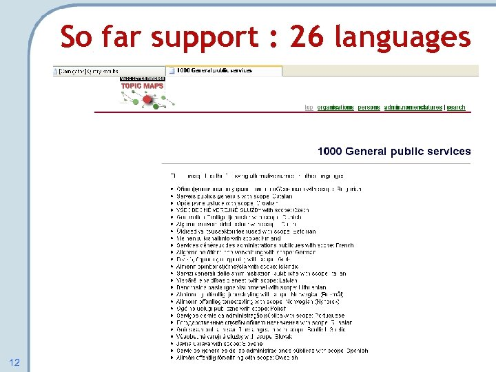 So far support : 26 languages 12