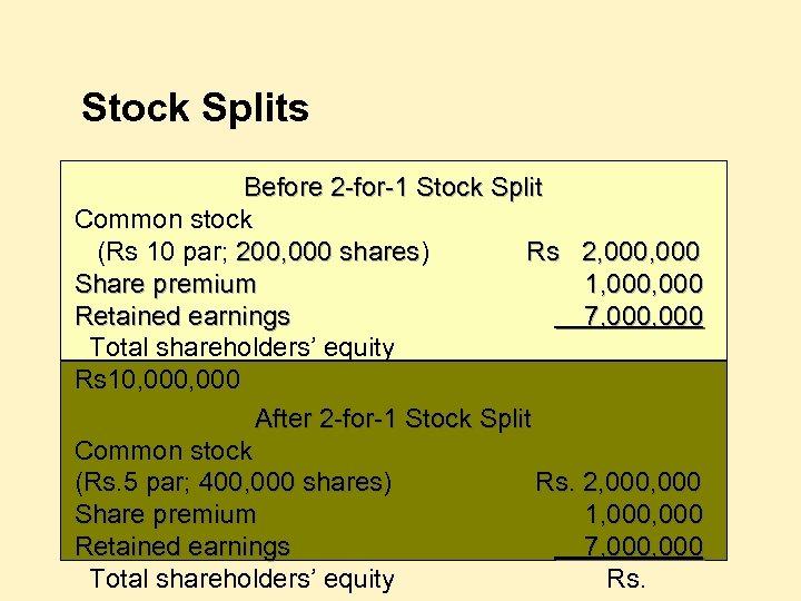 Stock Splits Before 2 -for-1 Stock Split Common stock (Rs 10 par; 200, 000