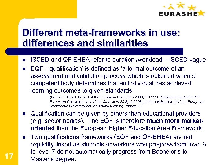 Different meta-frameworks in use: differences and similarities l l ISCED and QF EHEA refer