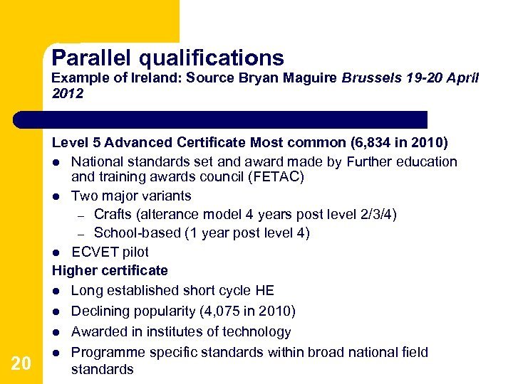 Parallel qualifications Example of Ireland: Source Bryan Maguire Brussels 19 -20 April 2012 20