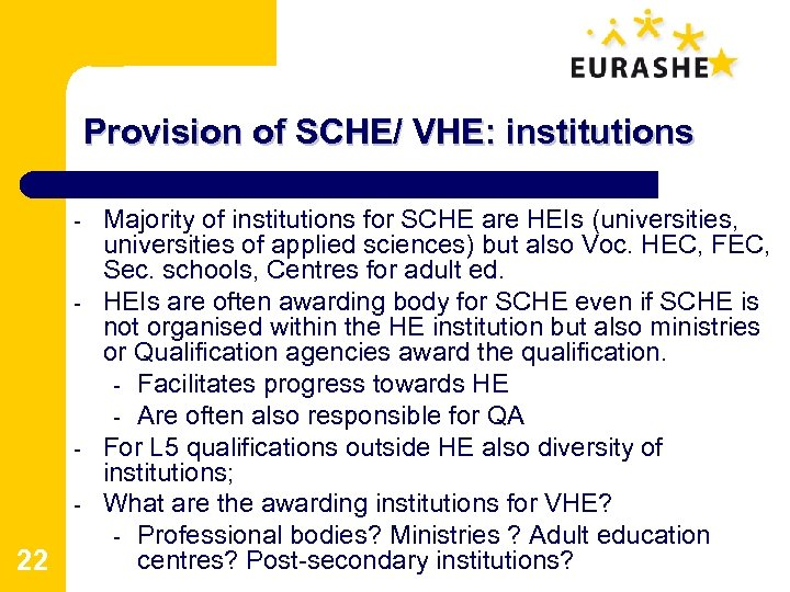 Provision of SCHE/ VHE: institutions - - - 22 Majority of institutions for SCHE