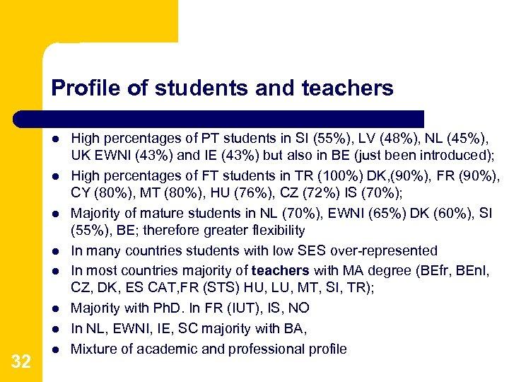 Profile of students and teachers l l l l 32 l High percentages of