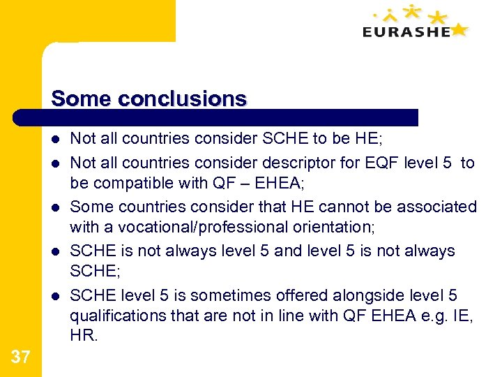 Some conclusions l l l 37 Not all countries consider SCHE to be HE;