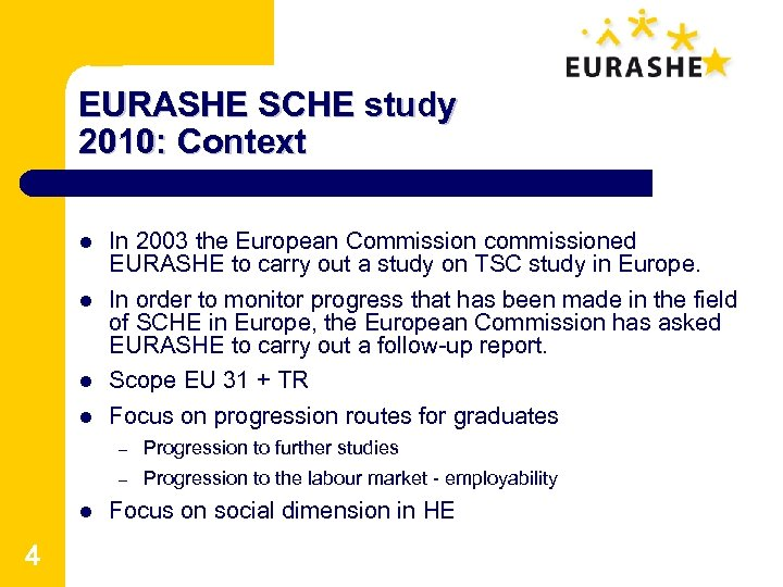 EURASHE SCHE study 2010: Context l l In 2003 the European Commission commissioned EURASHE