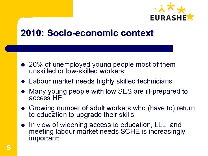 2010: Socio-economic context l l l 5 20% of unemployed young people most of