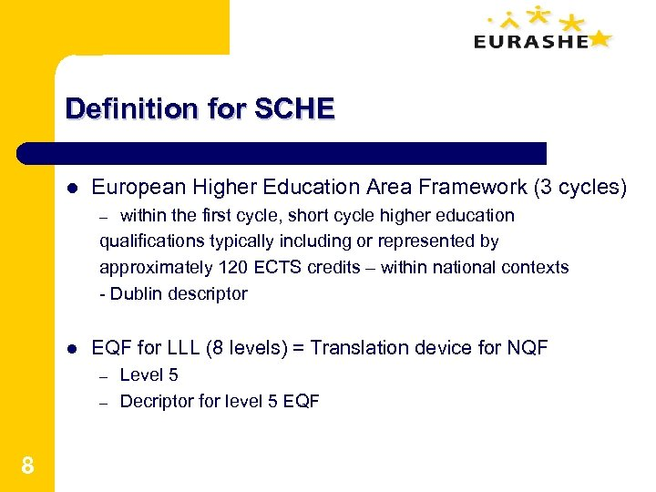Definition for SCHE l European Higher Education Area Framework (3 cycles) within the first