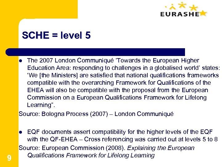SCHE = level 5 The 2007 London Communiqué 'Towards the European Higher Education Area: