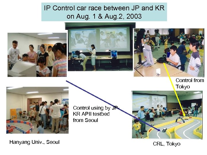 IP Control car race between JP and KR on Aug. 1 & Aug. 2,
