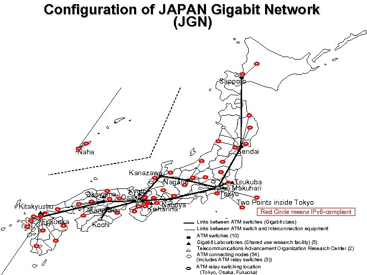 Configuration of JAPAN Gigabit Network (JGN) Sapporo Sendai Naha Kanazawa Nagano Kyoto Okayama Osaka