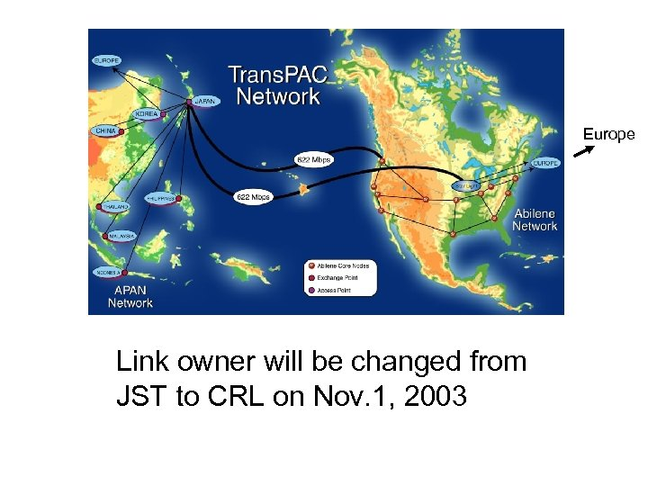 Europe Link owner will be changed from JST to CRL on Nov. 1, 2003