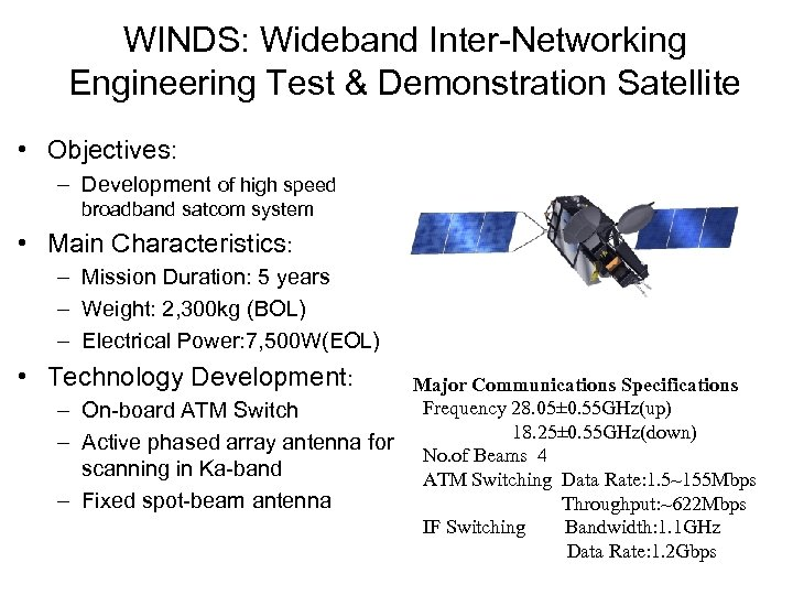 WINDS: Wideband Inter-Networking Engineering Test & Demonstration Satellite • Objectives: – Development of high