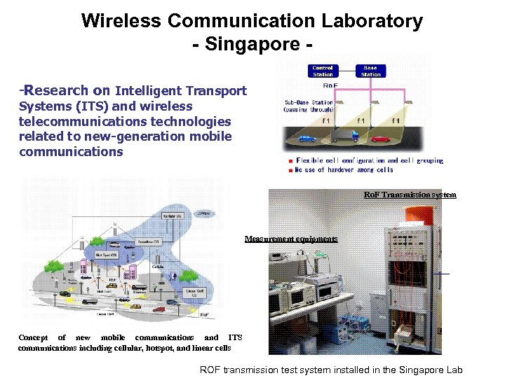 Wireless Communication Laboratory - Singapore -Research on Intelligent Transport Systems (ITS) and wireless telecommunications