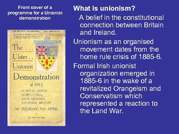 Front cover of a programme for a Unionist demonstration What is unionism? A belief