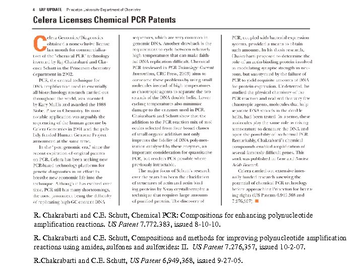 R. Chakrabarti and C. E. Schutt, Chemical PCR: Compositions for enhancing polynucleotide amplification reactions.