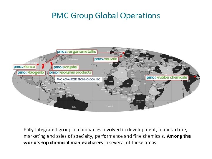 PMC Group Global Operations Fully integrated group of companies involved in development, manufacture, marketing