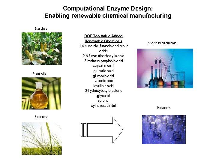 Computational Enzyme Design: Enabling renewable chemical manufacturing Starches Plant oils Biomass DOE Top Value