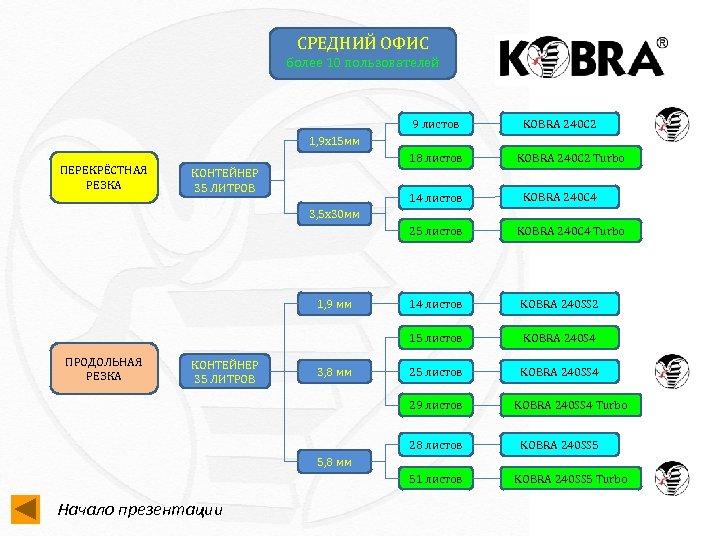 СРЕДНИЙ ОФИС более 10 пользователей 9 листов KOBRA 240 C 2 1, 9 х15