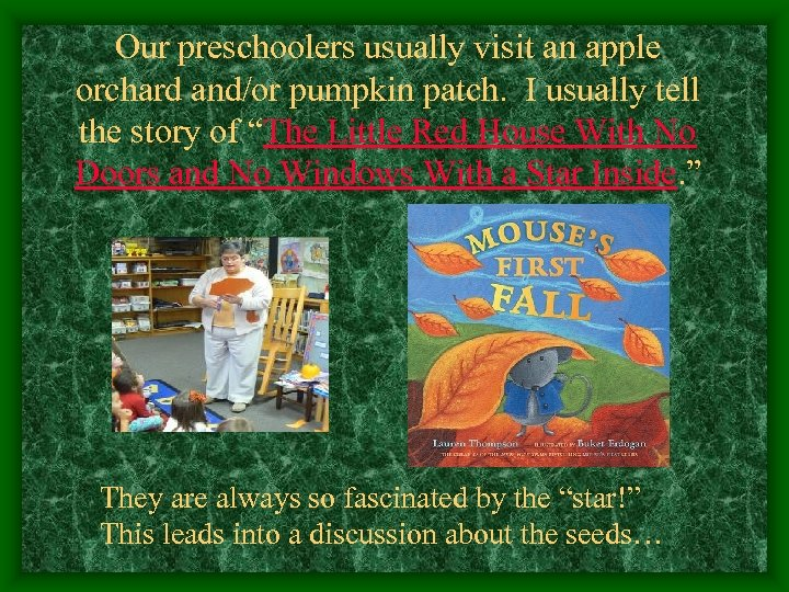 Our preschoolers usually visit an apple orchard and/or pumpkin patch. I usually tell the