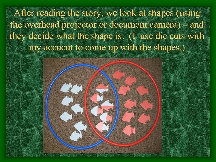 After reading the story, we look at shapes (using the overhead projector or document