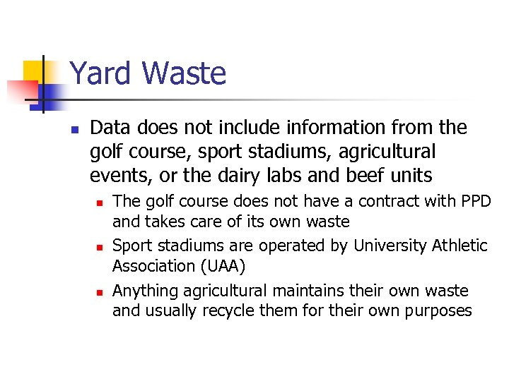 Yard Waste n Data does not include information from the golf course, sport stadiums,