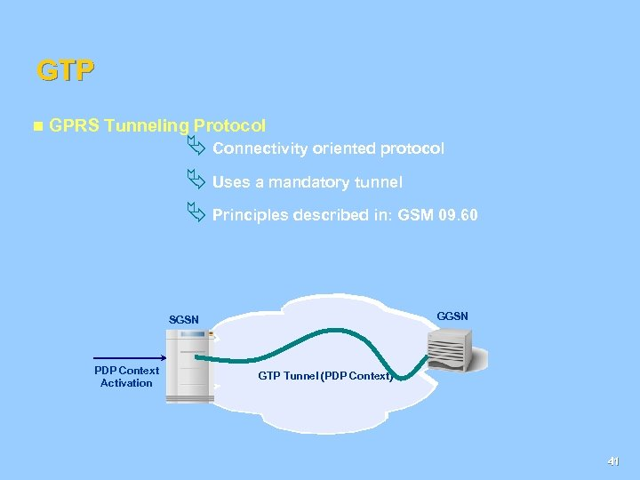 GTP n GPRS Tunneling Protocol Ä Connectivity oriented protocol Ä Uses a mandatory tunnel