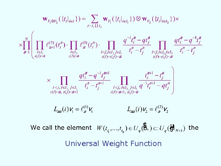 We call the element Universal Weight Function the