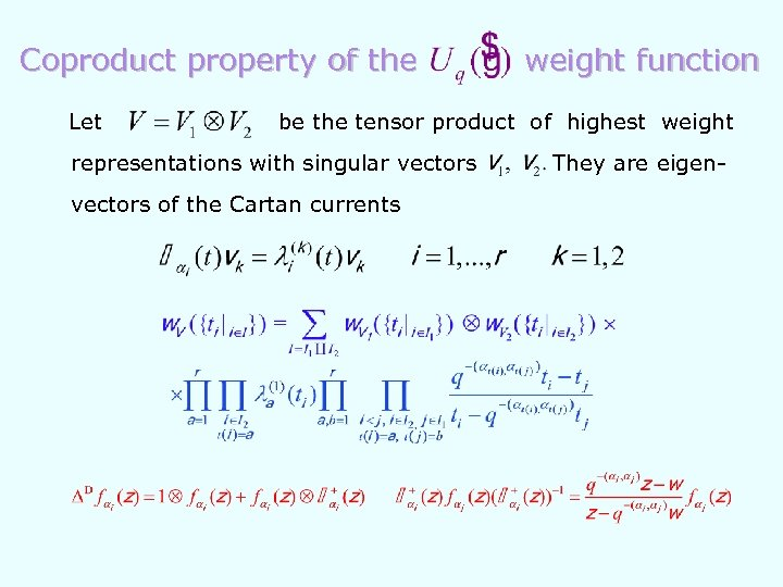 Coproduct property of the Let weight function be the tensor product of highest weight