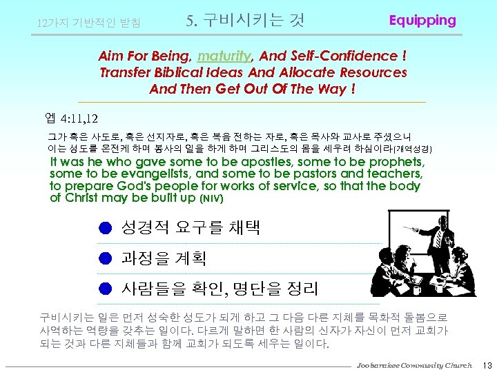 12가지 기반적인 받침 5. 구비시키는 것 Equipping Aim For Being, maturity, And Self-Confidence !
