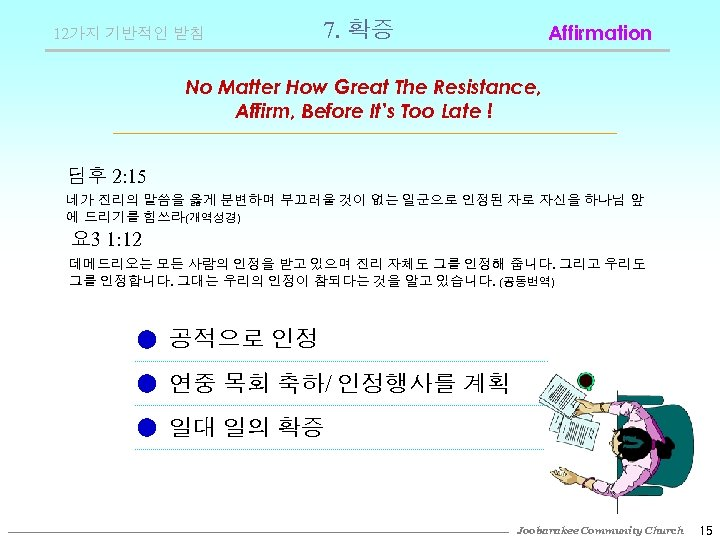 12가지 기반적인 받침 7. 확증 Affirmation No Matter How Great The Resistance, Affirm, Before