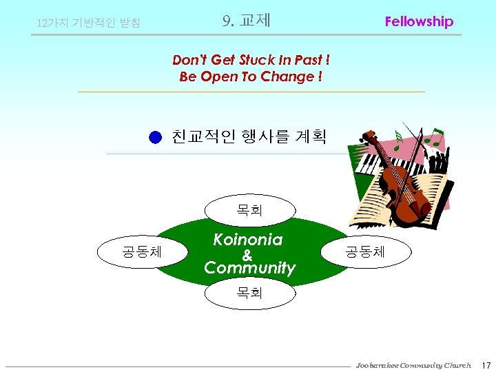 12가지 기반적인 받침 9. 교제 Fellowship Don't Get Stuck In Past ! Be Open