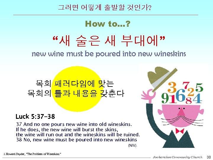 """그러면 어떻게 출발할 것인가? How to…? """"새 술은 새 부대에"""" new wine must be"""