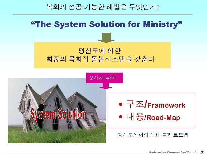 """목회의 성공 가능한 해법은 무엇인가? """"The System Solution for Ministry"""" 평신도에 의한 회중의 목회적"""