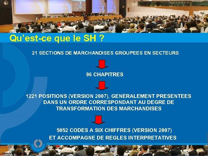 Qu'est-ce que le SH ? 21 SECTIONS DE MARCHANDISES GROUPEES EN SECTEURS 96 CHAPITRES