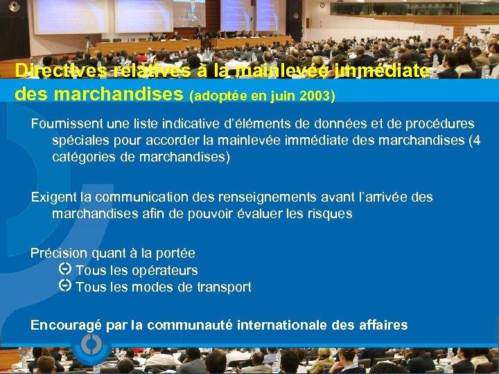 Directives relatives à la mainlevée immédiate des marchandises (adoptée en juin 2003) Fournissent une
