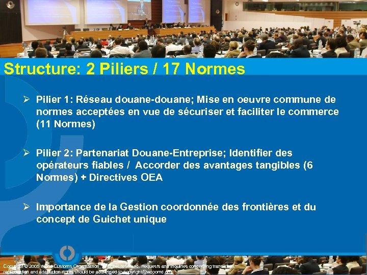 Structure: 2 Piliers / 17 Normes Ø Pilier 1: Réseau douane-douane; Mise en oeuvre