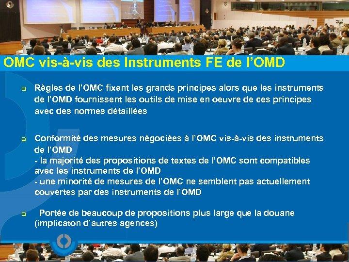 OMC vis-à-vis des Instruments FE de l'OMD q q q Règles de l'OMC fixent