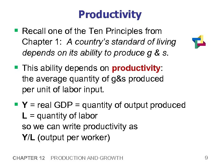 Productivity § Recall one of the Ten Principles from Chapter 1: A country's standard