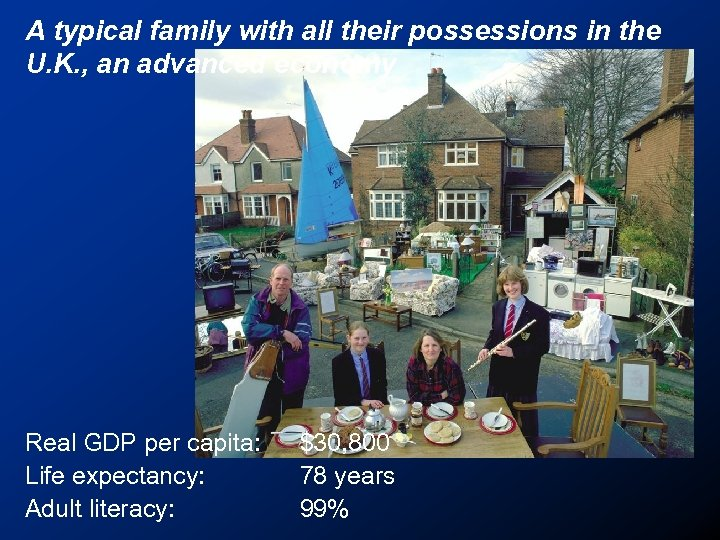 A typical family with all their possessions in the U. K. , an advanced