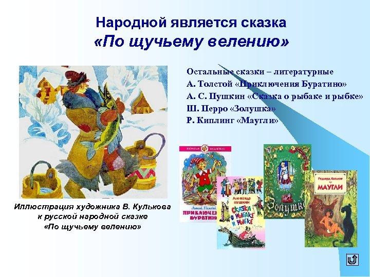 Народной является сказка «По щучьему велению» Остальные сказки – литературные А. Толстой «Приключения Буратино»