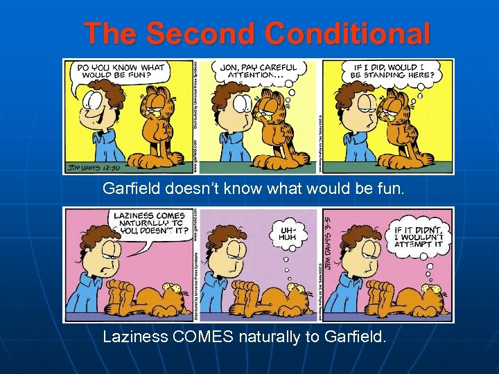 The Second Conditional Garfield doesn't know what would be fun. Laziness COMES naturally to