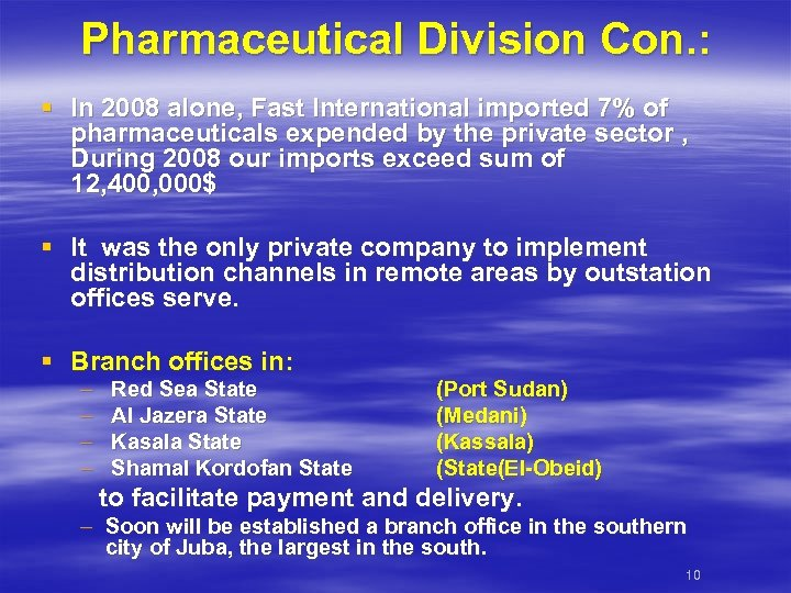 Pharmaceutical Division Con. : § In 2008 alone, Fast International imported 7% of pharmaceuticals
