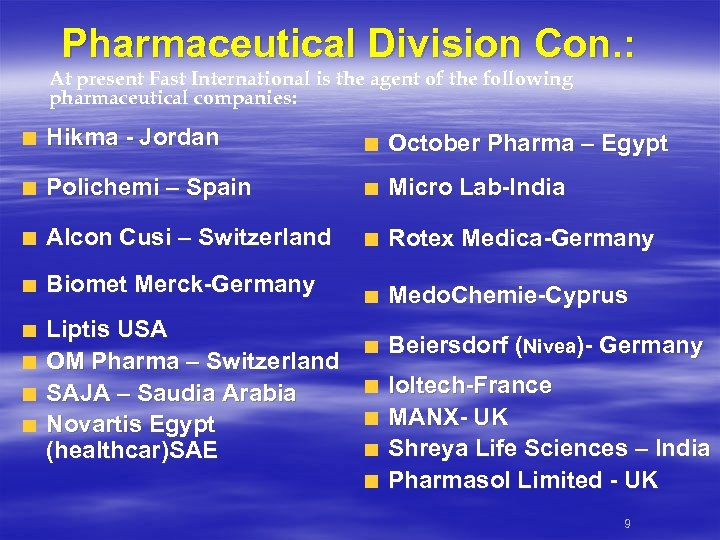 Pharmaceutical Division Con. : At present Fast International is the agent of the following