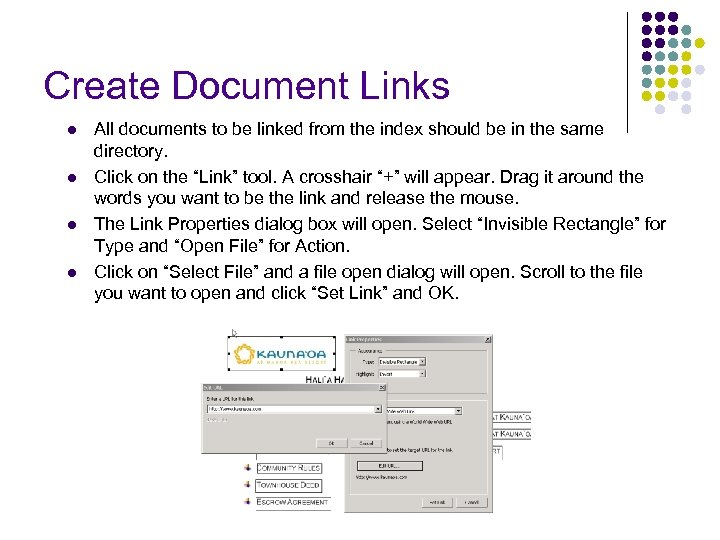 Create Document Links l l All documents to be linked from the index should