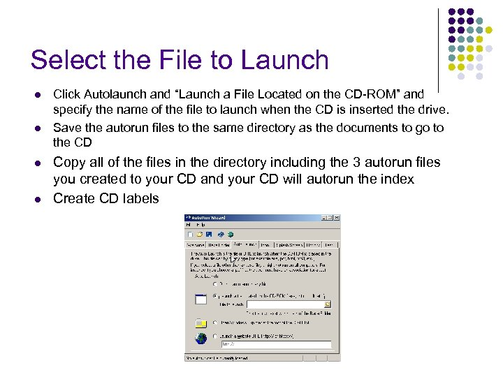 """Select the File to Launch l l Click Autolaunch and """"Launch a File Located"""