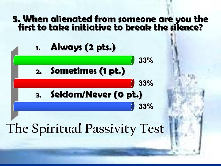 5. When alienated from someone are you the first to take initiative to break