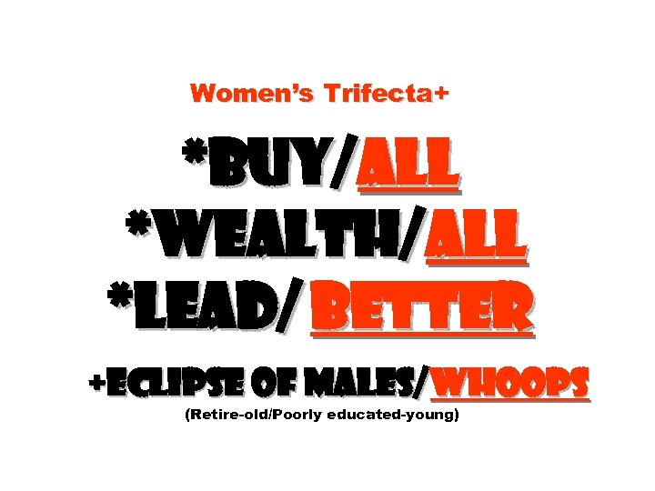 Women's Trifecta+ *Buy/all *Wealth/all *Lead/ better +Eclipse of males/whoops (Retire-old/Poorly educated-young)