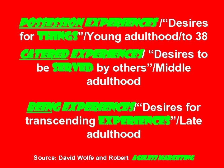 """Possession Experiences /""""Desires for things""""/Young adulthood/to 38 Catered Experiences/ """"Desires to be served by"""